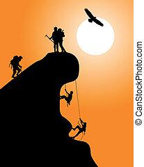 silhouette, kletterer, gestein