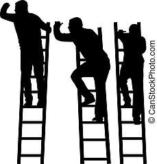 silhouette, ladder., mann