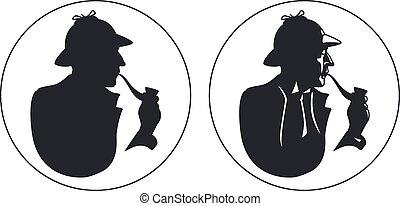 silhouette., pfeife, detektiv, raucher, sherlock holmes