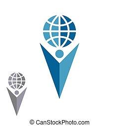 silhouette, pfeil, erfolg, erdball, logo, abstrakt, auf, hand, form, menschliche , besitz, emblem, firma, mann