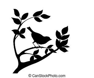 Silhouette-Vogel auf dem Baum