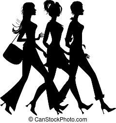 Silhouette von drei Einkauffrauen.