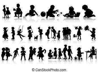 Silhouette von Kindern in verschiedenen Situationen. Eine Vektor-Illustration