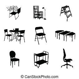 Silhouette von Möbeln haben schwarze Farbe