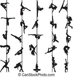 Silhouette von Pole-Tänzern