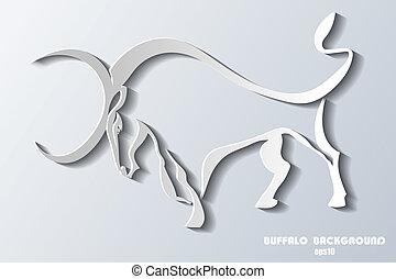 Silhouette wilder Stier auf grauem Hintergrund.