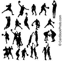 silhouetten, basketball, sammlung