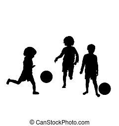 silhouetten, fußball, kinder