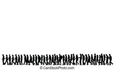 silhouetten, gehende menschen