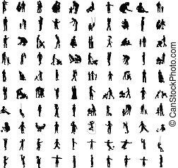 silhouetten, hundert, elternteil, eins