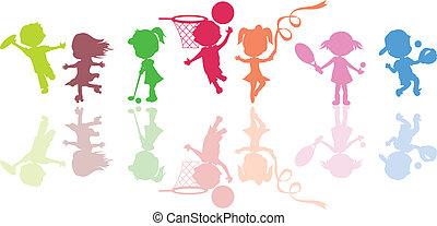 silhouetten, kinder, sport