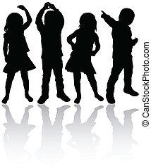 silhouetten, kinder, tanzen