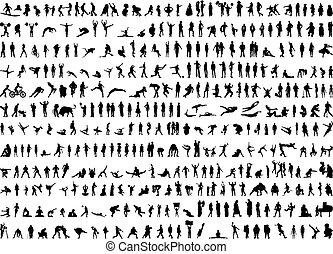silhouetten, menschliche , hunderte