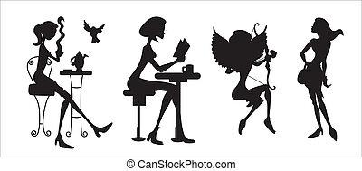 silhouetten, modern, mädels