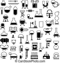 silhouetten, satz, mechanismen, karikatur