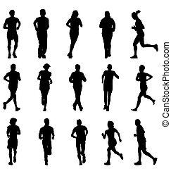 silhouetten, satz, rennender , gehen