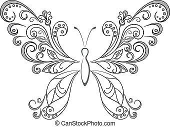 silhouetten, schwarz, papillon