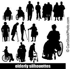 silhouetten, senioren