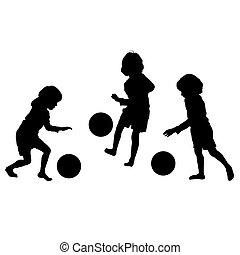 silhouetten, vektor, fußball, kinder