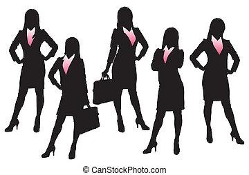 Silhouetten von Geschäftsfrau.