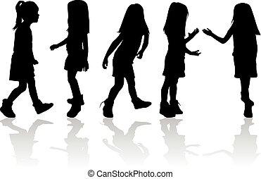 Silhouetten von Kindern.
