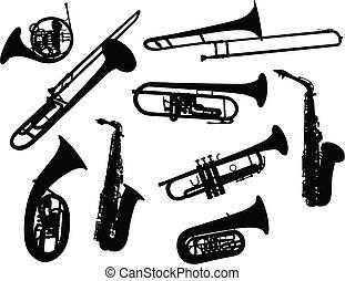 Silhouetten von Windinstrumenten.