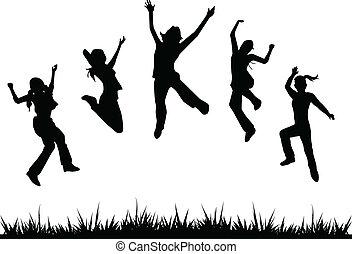 Silhouettes Kinder springen.