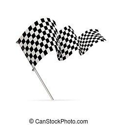 Single checkered racing flag avto. Vector