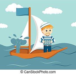 sinken, seeleute, schiff, fragen, hilfe