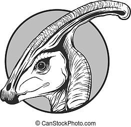 Sketch eines Comic-Dinosauriers in Vektor-Ausstrahlung.
