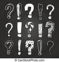 Sketch-Frage und Ausrufezeichen an der Tafel