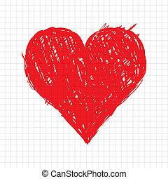 Sketch-Herzform rot für dein Design