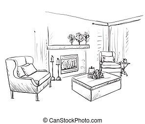sketch., inneneinrichtung, schlafzimmer möbel, hand, gezeichnet, modern