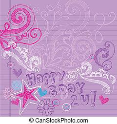 Sketchy doodles Geburtstagsvektor.