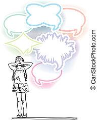 skizze, geräusch, hülle, abbildung, vektor, m�dchen, balloons., laut, ohren