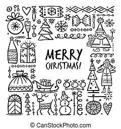 skizze, weihnachten, dein, design, rahmen
