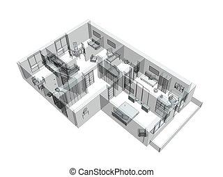 skizze, wohnung, four-room, 3d