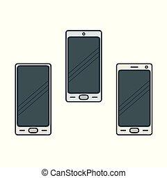 smartphone, abbildung, satz