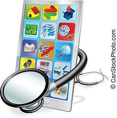 Smartphone oder Tablet PC Gesundheitscheck Konzept