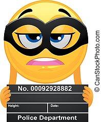 Smiley-Emoticon-Gefangener, der einen Verbrecherfoto macht.