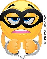 Smiley Emoticon mit Maske und Handschellen.