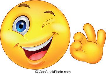 Smiley Emoticon mit Ok-Zeichen