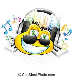 Smiley genießt Musik