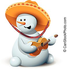 Snowman in einem Sombrero.