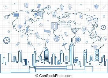 Social Media Communication Internet-Netzwerk-Verbindung über Stadt skyscraper Blick Stadtbild und Weltkarte Quadrat Hintergrund.