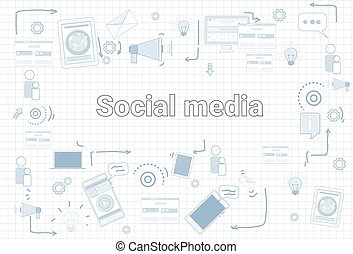Social Media Communication Konzept Internet-Network-Verbindung Banner über quadratische Hintergründe.