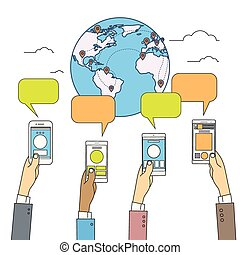 Social Media Communication Welt Globus Map Konzept Internet-Netzwerk-Verbindung.