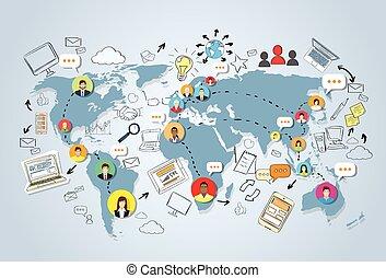 Social media communication world map concept internet.