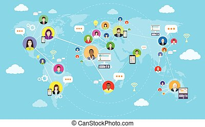 Social media communication world map concept internet network connection.