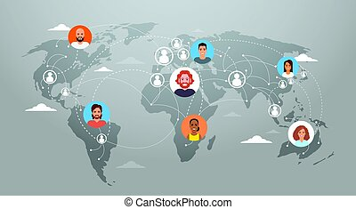 Social media communication world map concept internet network connection people.
